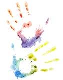 Mão colorida da aquarela do vetor Fotografia de Stock