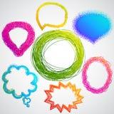 Mão colorida discurso desenhado Imagem de Stock