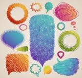 Mão colorida discurso desenhado Imagens de Stock