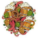 A mão colorida dos desenhos animados tirada rabisca o molde de Oktoberfest detalhe Foto de Stock Royalty Free
