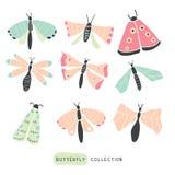 Mão colorida grande grupo tirado da garatuja - borboletas ilustração stock