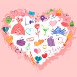 Mão colorida grupo tirado de símbolos do dia do ` s do Valentim Desenhos engraçados da garatuja dos corações, presentes, anéis, b Imagens de Stock