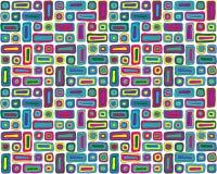 Mão colorida teste padrão retro desenhado Fotografia de Stock