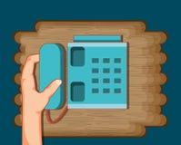 Mão com ícone do telefone ilustração royalty free
