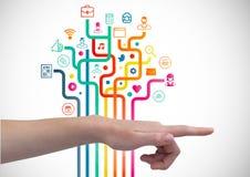 Mão com ícones da aplicação Imagem de Stock Royalty Free