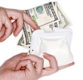 Mão com $100 notas de banco em um saco Fotografia de Stock
