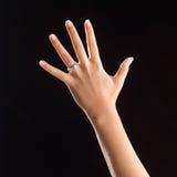 Mão com anel Foto de Stock Royalty Free