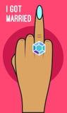 Mão com anel de diamante ilustração stock