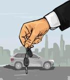 Mão com as chaves do carro Imagem de Stock