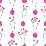Mão com as framboesas em todo o teste padrão sem emenda dos dedos Ilustração Royalty Free