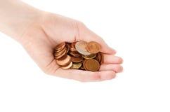 Mão com moedas Foto de Stock Royalty Free