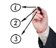 Mão com as setas do desenho da pena de marcador com números nos círculos. Imagem de Stock Royalty Free
