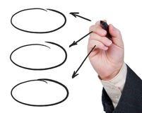 Mão com as setas felt-tip do desenho da pena. Fotos de Stock Royalty Free