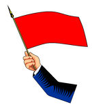 Mão com bandeira vermelha Fotografia de Stock Royalty Free