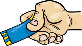 Mão com bilhete ou desenhos animados do vale Imagens de Stock Royalty Free