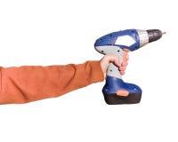 Mão com broca Imagem de Stock