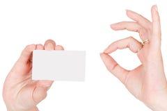 Mão com cartão em branco fotografia de stock