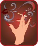Mão com cigarro ilustração do vetor