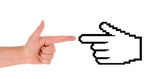 Mão com cursor foto de stock