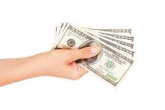 Mão com dólar Fotografia de Stock