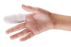 Mão com dedo enfaixado Fotografia de Stock