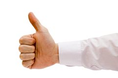 A mão com dedo grande diz bom Fotografia de Stock Royalty Free