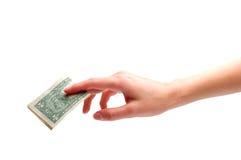 Mão com dinheiro Foto de Stock