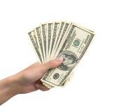 Mão com dinheiro Fotos de Stock