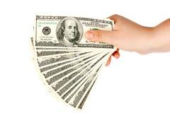 Mão com dinheiro Imagem de Stock