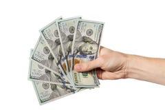 Mão com dinheiro Fotos de Stock Royalty Free