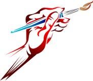 Mão com escova de pintura ilustração stock