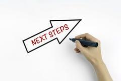 Mão com escrita do marcador - passos seguintes Fotografia de Stock Royalty Free