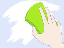 Mão com esponja ilustração stock