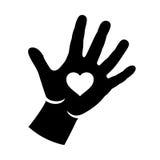 Mão com ilustração do logotipo do coração Fotos de Stock Royalty Free