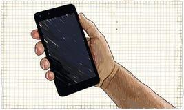 Mão com ilustração do telefone ilustração stock