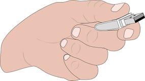 Mão com memória Flash ilustração stock