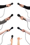 Mão com microfone Imagens de Stock
