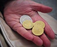 Mão com moedas Imagem de Stock