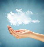 Mão com a nuvem sobre a mão Fotos de Stock Royalty Free