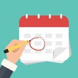 Mão com o calendário da marca da pena Ilustração lisa do vetor ilustração do vetor