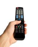 Mão com o de controle remoto no branco Imagem de Stock