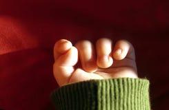 Mão com o dedo do bebê bonito novo foto de stock