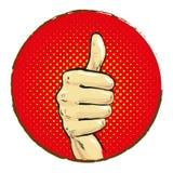Mão com o dedo grande acima da banda desenhada do pop art ilustração royalty free