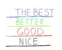Mão com o giz que escreve o bom - melhore - melhor Imagem de Stock Royalty Free