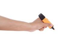 Mão com o marcador isolado no fundo branco Foto de Stock Royalty Free