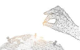 Mão com o pino no mapa global das linhas, dos triângulos e do projeto do estilo da partícula ilustração stock