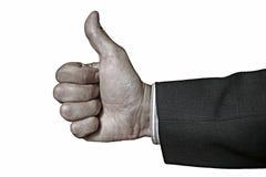 Mão com o polegar isolado acima no branco Foto de Stock Royalty Free