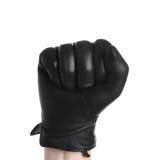 Mão com o sinal zero fazendo de couro da luva preta isolado no branco Fotografia de Stock Royalty Free