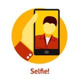 Mão com o telefone, fazendo o selfie Vetor Fotografia de Stock Royalty Free