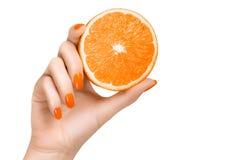 Mão com os pregos alaranjados que guardam um fruto alaranjado Fotos de Stock